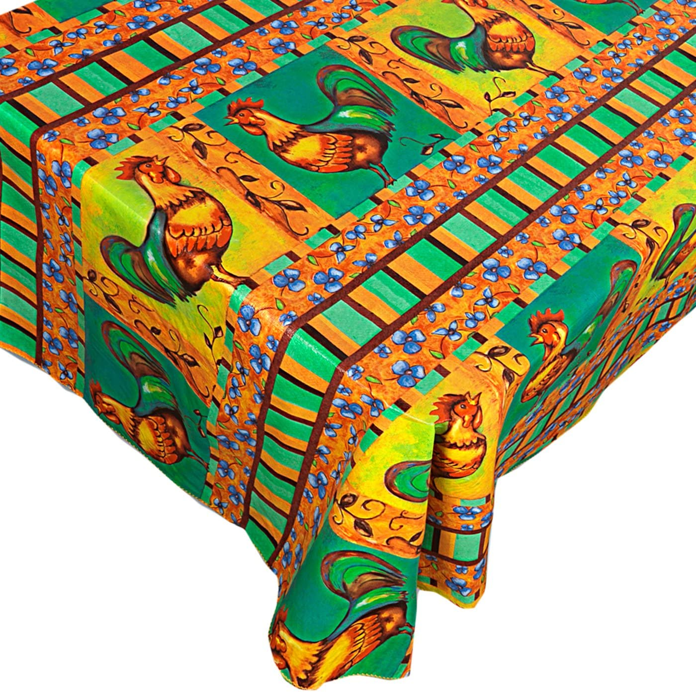 Home Bargains Plus Mod Rooster Vinyl Flannel Backed Tablecloth Contemporary Print Indoor/Outdoor Kitchen, Picnic and Barbeque Vinyl Tablecloth, 60 Inch Round