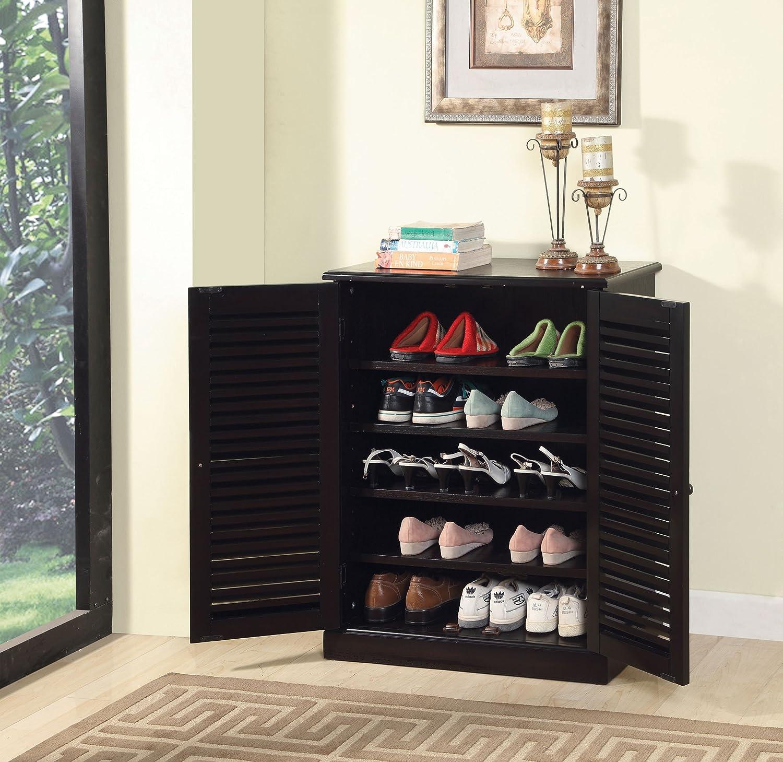Amazon.com: Furniture Of America Laires 5 Shelf Enclosed Shoe Cabinet, Oak:  Kitchen U0026 Dining