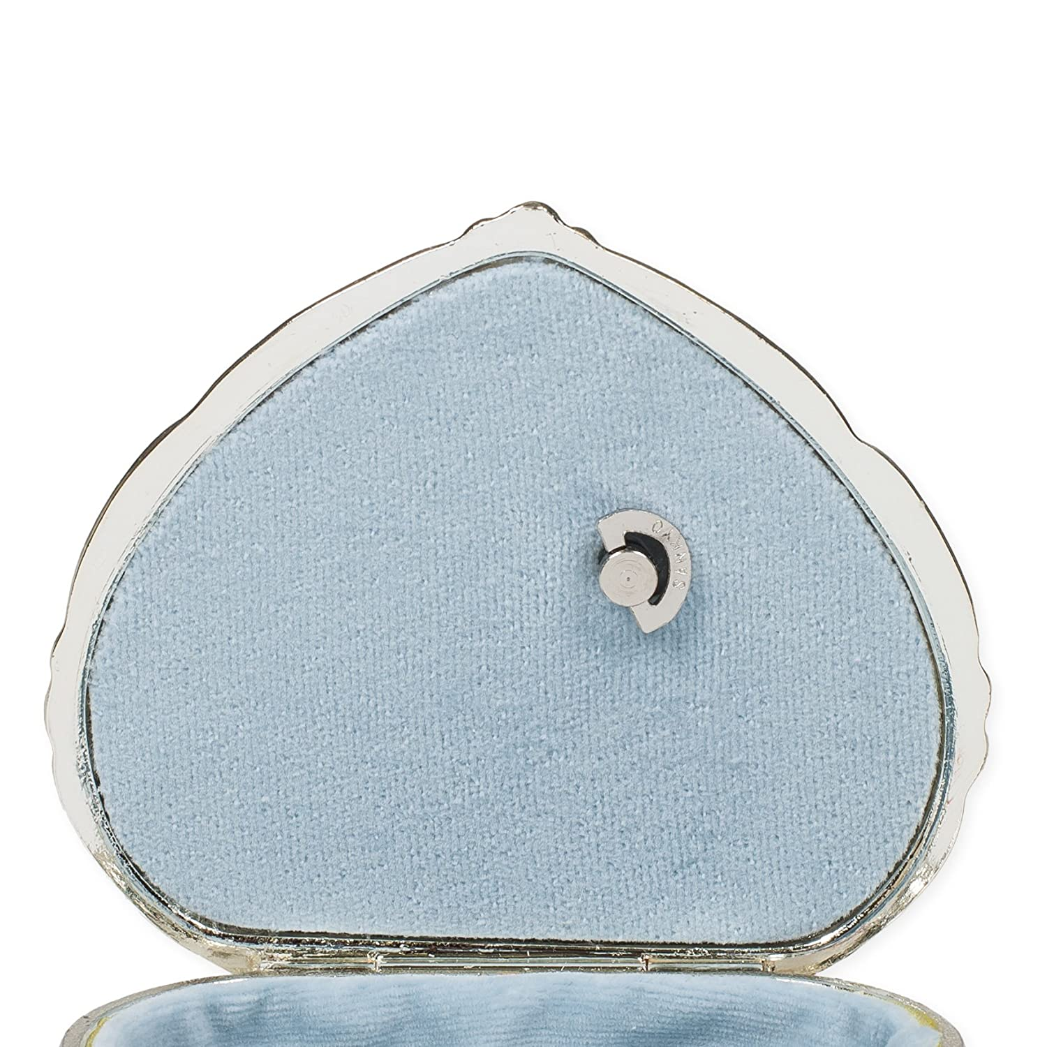 Periwinkle Blue Velvet Heart Shaped Silver Tone Metal Music Box Plays Waltz of the Flowers Splendid Music Box Co.
