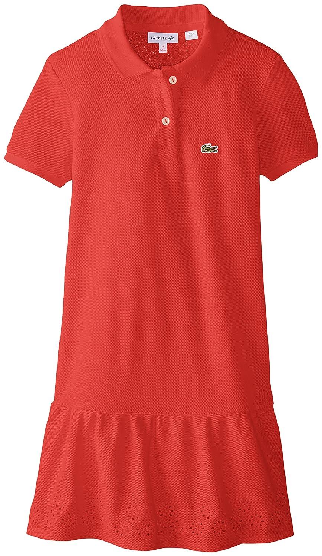 86e8af92a7b1 Amazon.com  Lacoste Girls  Big Girls  Short Sleeve Pique Drop Waist Eyelet  Trim Polo Dress