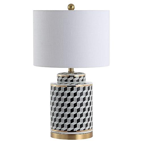 JONATHAN Y JYL3048A Ellie 24.5 Tumbling Block Ceramic Metal Table Lamp, Black White