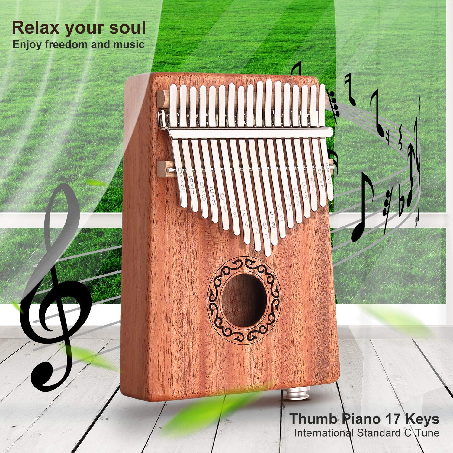 CXhome Electric Kalimba 17 Key Thumb Piano,Mbira African Mahogany Finger Piano Pickup with 6.35mm Audio Interface Sanza Hand Kit, Likembe Musical Instruments for beginners or professioners by CXhome (Image #7)