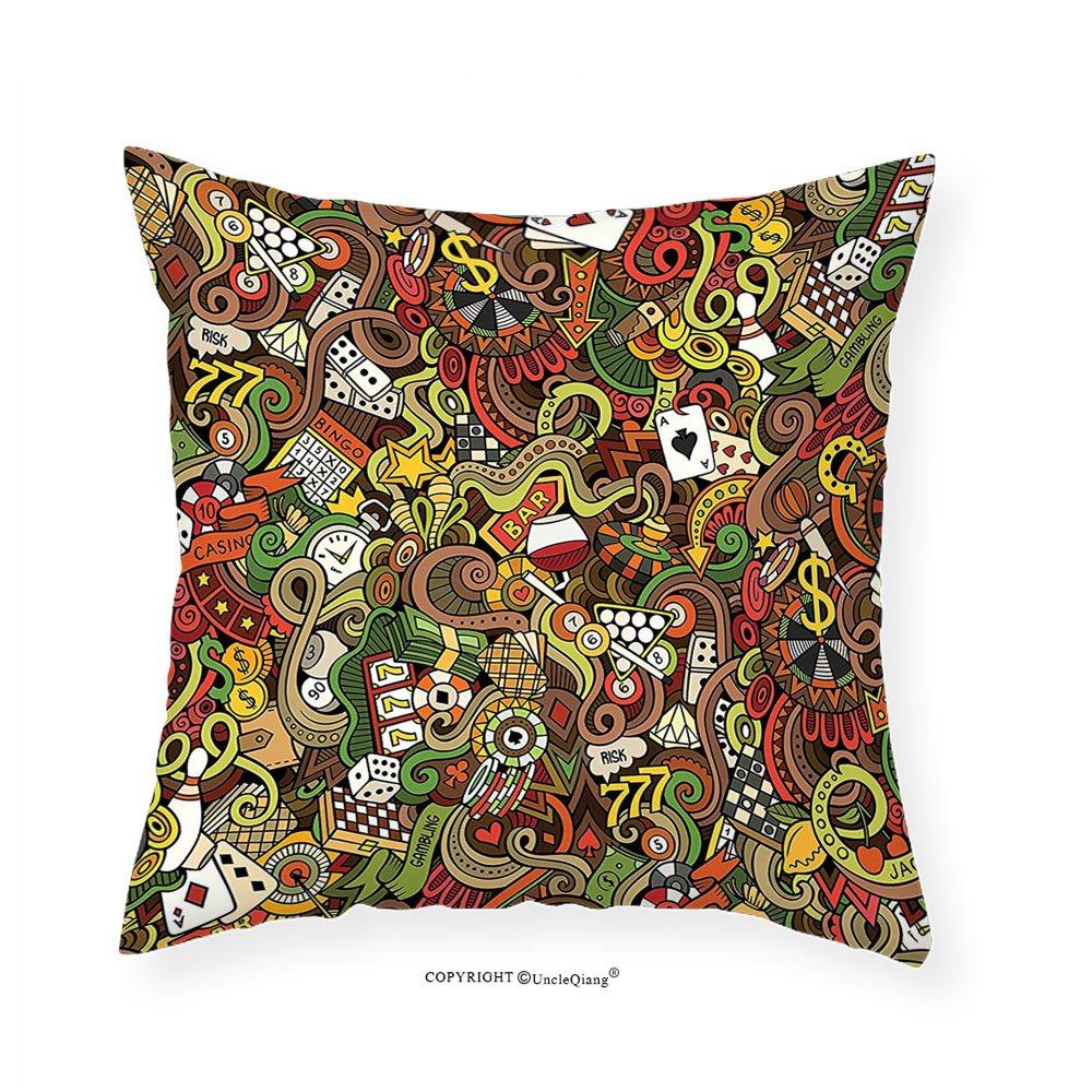 VROSELV Custom Cotton Linen Pillowcase Casino Decorations Doodles Style Art Bingo Excitement Checkers King Tambourine Vegas Bedroom Living Room Dorm Decor 28''x28'' by VROSELV