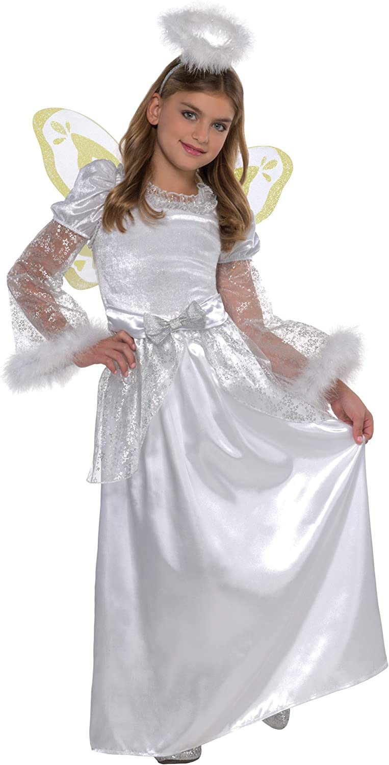 Girls Pretty White Angel Costume Nativity Christmas Fancy Dress Outfit /& Halo