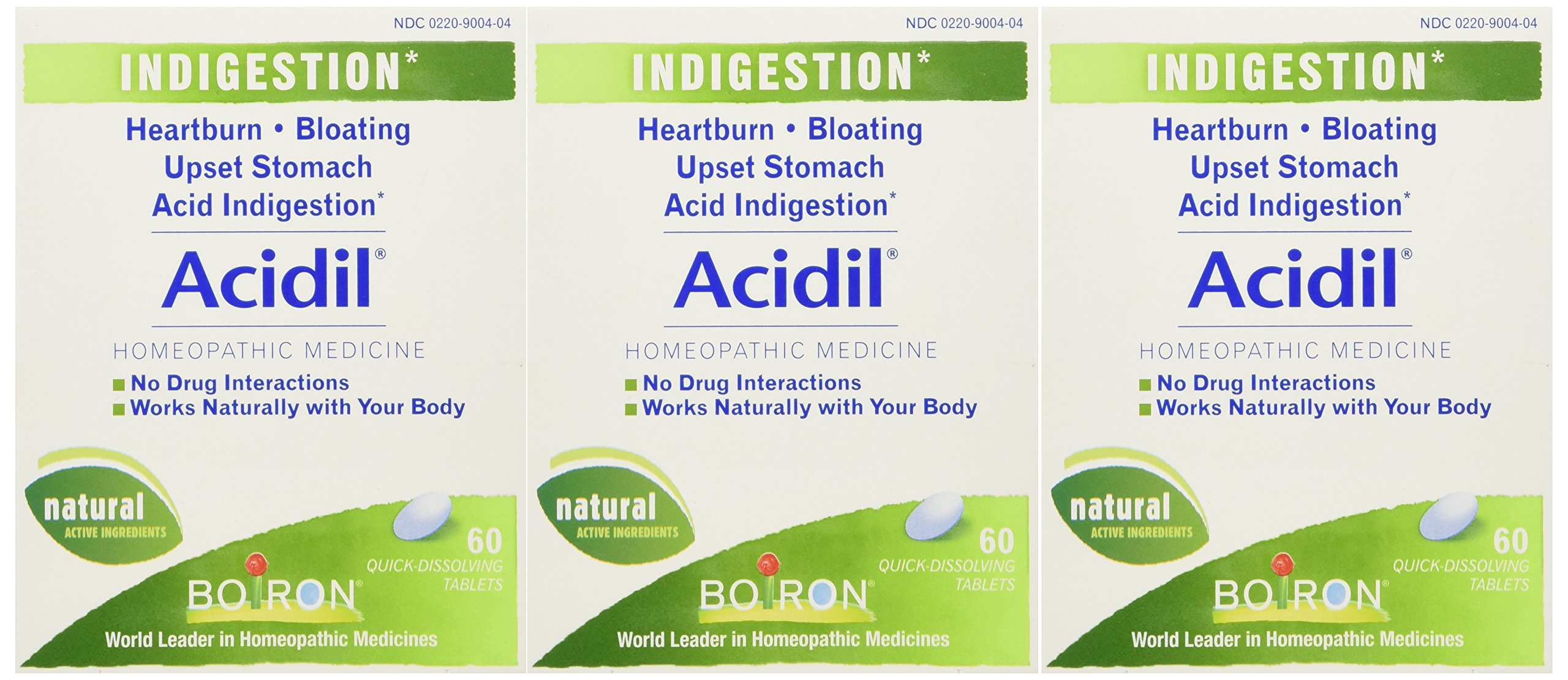 Boiron Acidil, 60 Tablets (Pack of 3), Homeopathic Medicine for Indigestion by Boiron