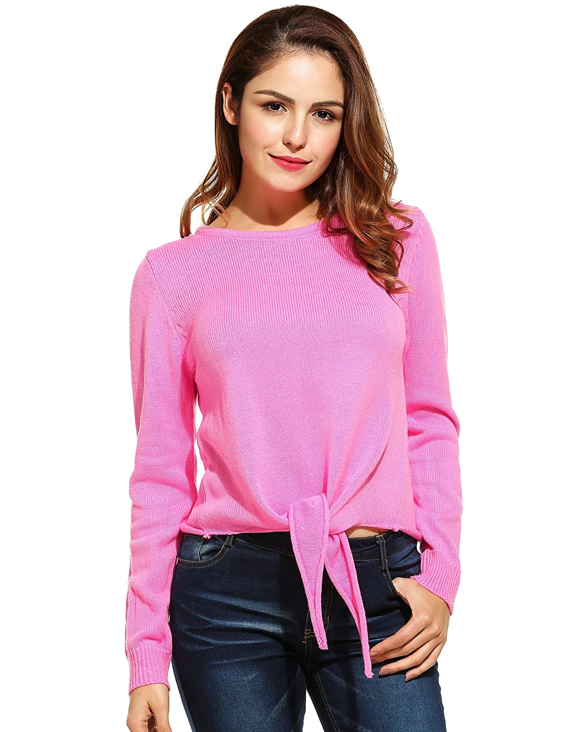 Women`s Knit Sweater,Zeagoo Casual Pullovers with Knot Round Neck Blouse Tops