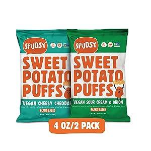 Spudsy Sweet Potato Puffs | Vegan, Gluten Free Snacks | Plant-Based, Allergen-free, Non-GMO, Superfood Snack | Vegan Cheesy Cheddar + Vegan Sour Cream & Onion (2 Pack, 4 oz Bags)