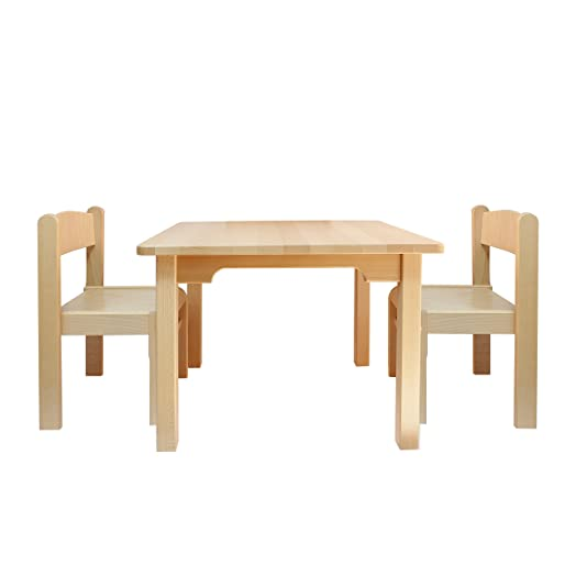 Childrenu0027s Furniture Solid Beech Wood Set Of 3, One Childrenu0027s Table With  Two Chairs Without