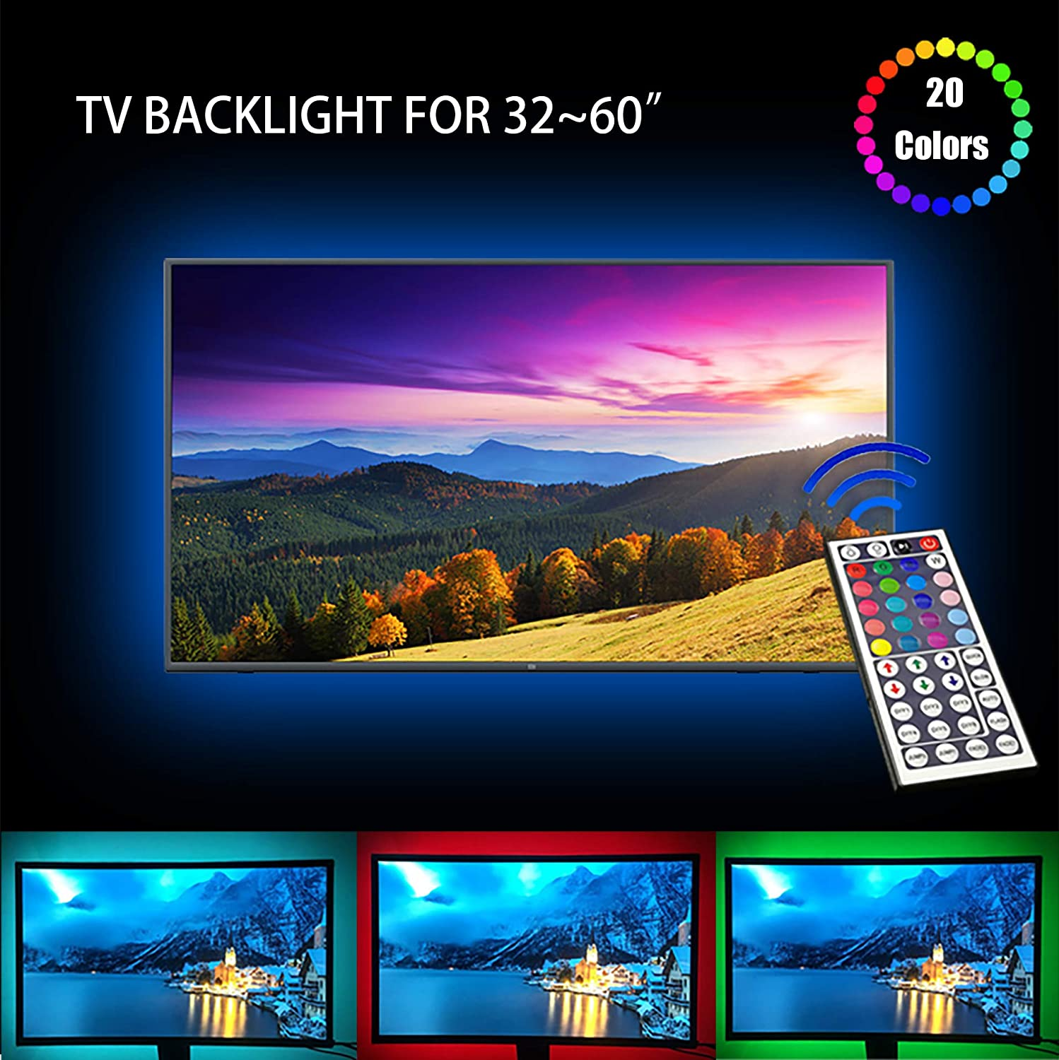 Amazon.com: LED TV Backlight, USB Basic Lighting for 32-60in ...