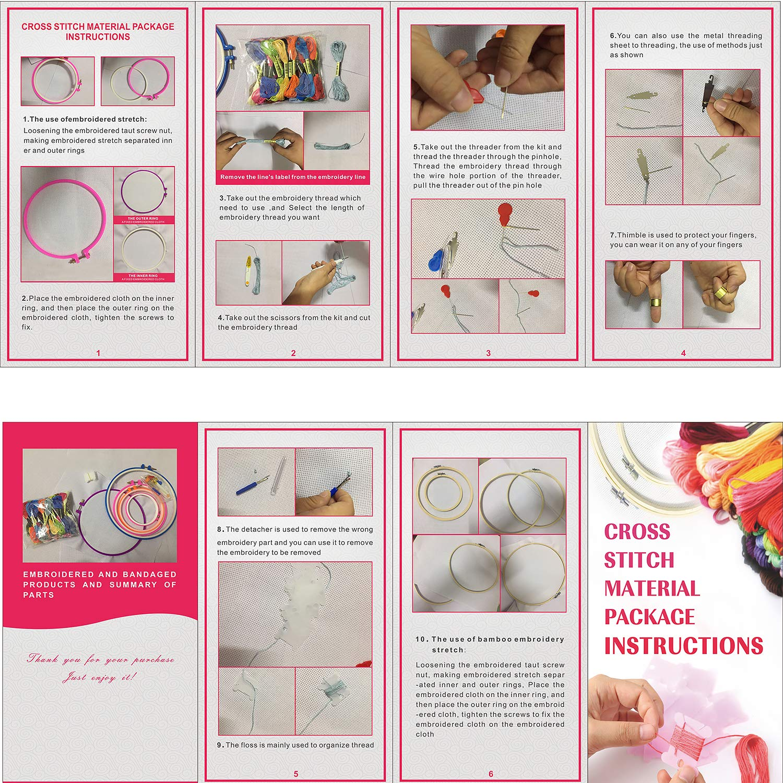 Mestieri 5 pezzi Cerchi di Ricamo in Bamb/ù Koooper Punto Croce Kit Set Ricamo per Principianti con 50 Colori Fili da Ricamo ABS Cerchio e Accessori da Ricamo Usato per Ricamo