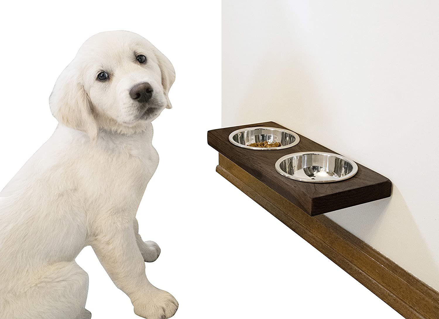 """Imperative Décor Rustic Wood Floating Raised Pet Bowls for Dog and Cats Elevated Food and Water Bowls (17"""" x 7.5"""")"""