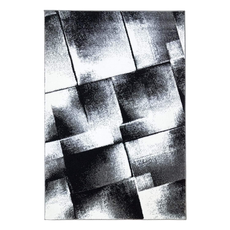 MyShop24h Teppich Flachflor Kurzflor mit Konturenschnitt Carving Modern Designer Meliertes Muster, Größe in cm 160 x 230 cm, Farbe Grau