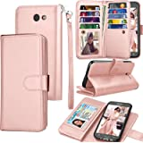 Galaxy J7 Sky Pro / J7 V Case, J7 Prime / J7 Perx Wallet Case, Samsung Halo / J7 2017 PU Leather Case, Tekcoo Credit Card Slots Carrying Folio Flip Cover [Detachable Magnetic Case] & Kickstand - Rgold