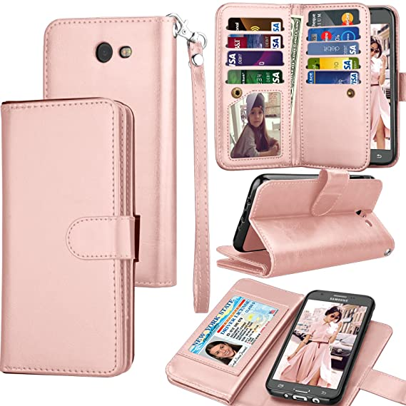 online store a52b8 836b1 Tekcoo Compatible for Galaxy J7 Sky Pro / J7 V / J7 Prime / J7 Perx/Samsung  Halo / J7 2017 PU Leather Wallet Case, Credit Card Slots Carrying Flip ...
