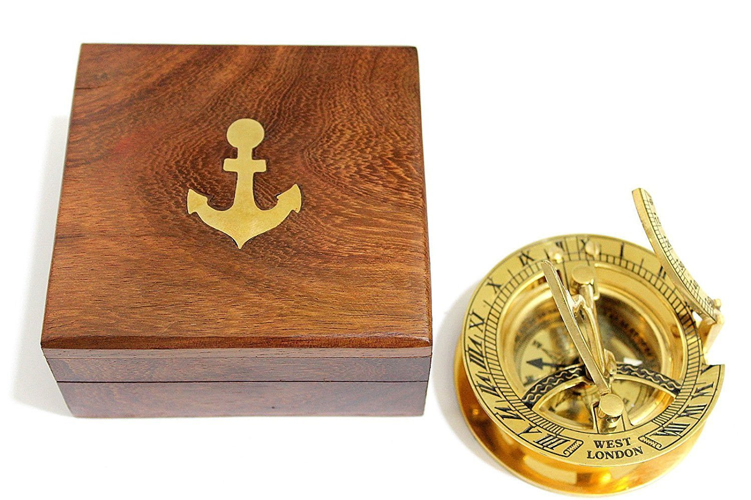 THORINSTRUMENTS (with device) 3.5'' Sundial Compass With Teak Wood Box Inlaid With Solid Brass by THORINSTRUMENTS (with device)