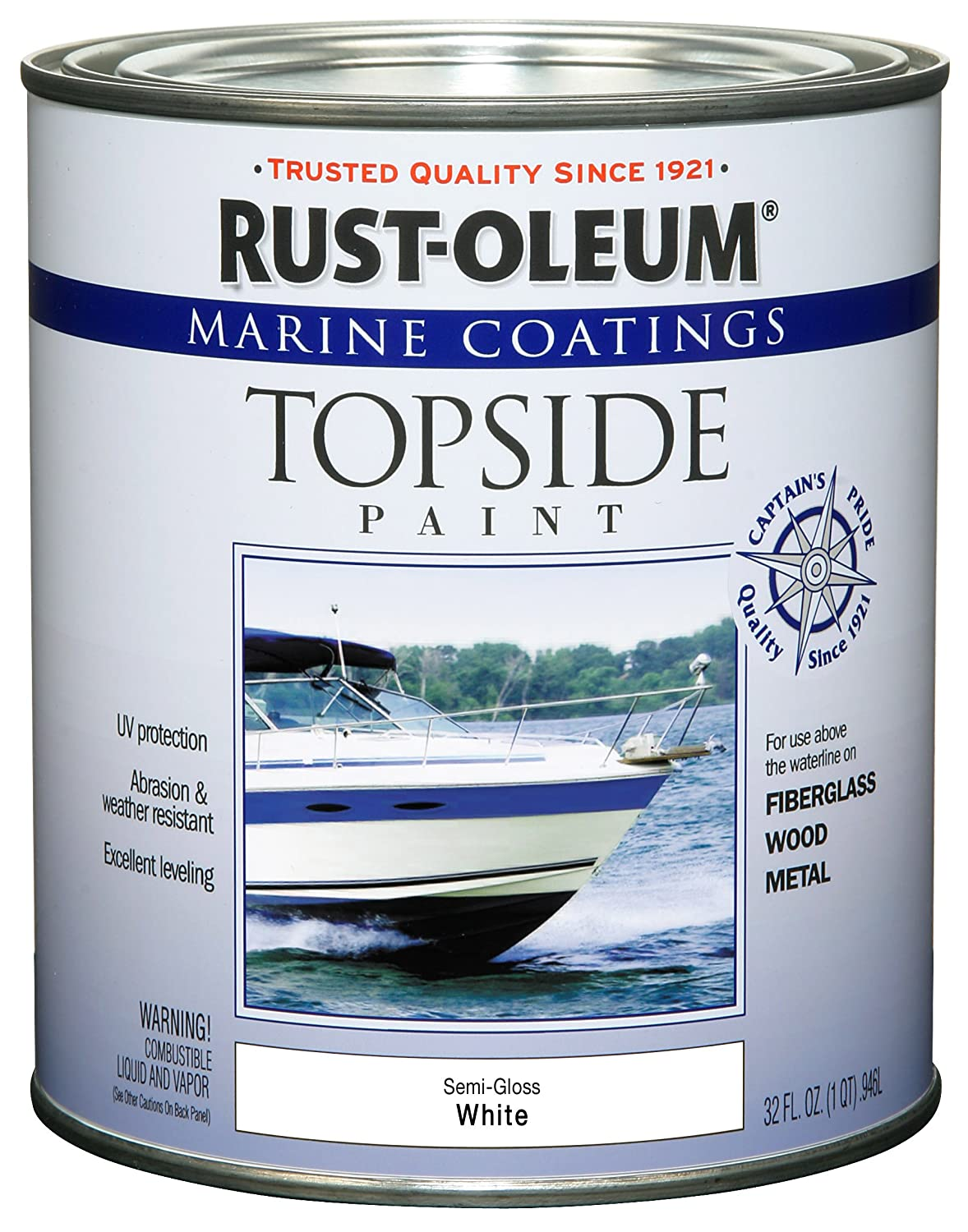 Rust-Oleum 207000 Marine Topside Paint, Semi-Gloss White, 1-Quart ...