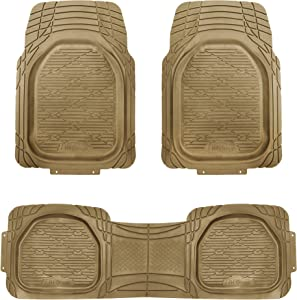 FH Group F11323 Trimmable Deep Tray Rubber Floor Mats (Beige) Full Set - Universal Fit for Cars Trucks and SUVs