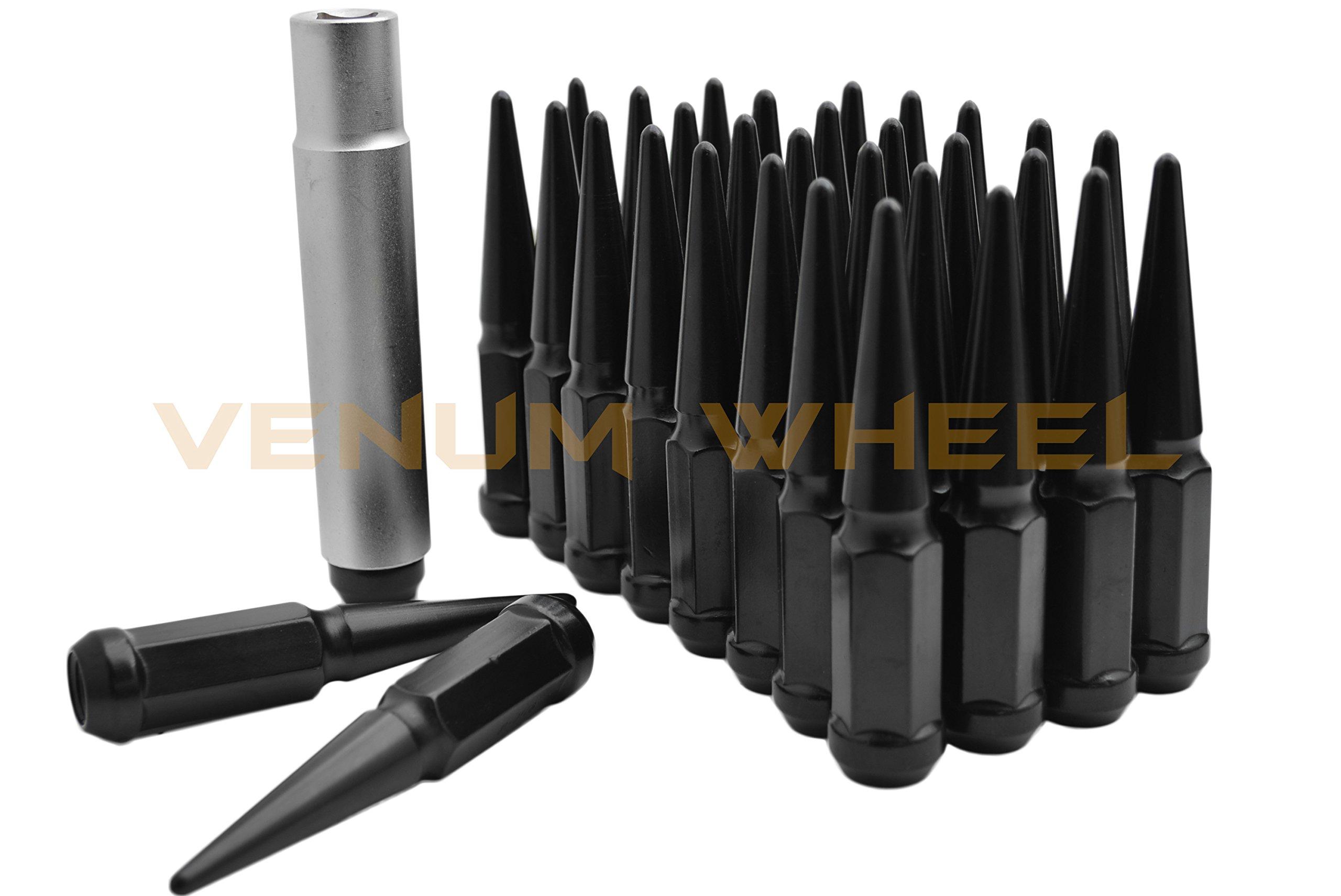 24 Pc Chevy Silverado GMC Sierra 1500 Black Spike Lug Nuts 14x1.5 Spiked Metal Lug Nuts Solid 1 Piece 4.5'' Tall Acorn Lug Nut + 1 Special Design Key - Aftermarket Wheels Heavy Duty Made in USA