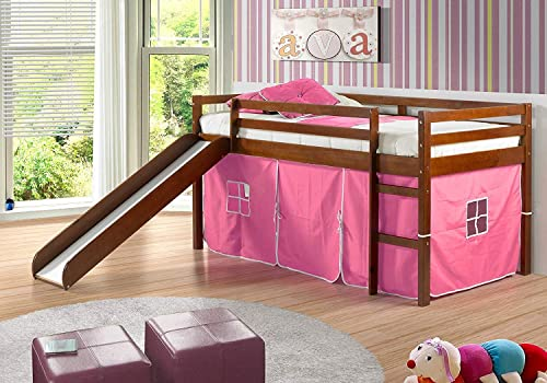 Donco Kids Mission Low Slide Loft Bed Light Espresso/Twin/Pink Tent
