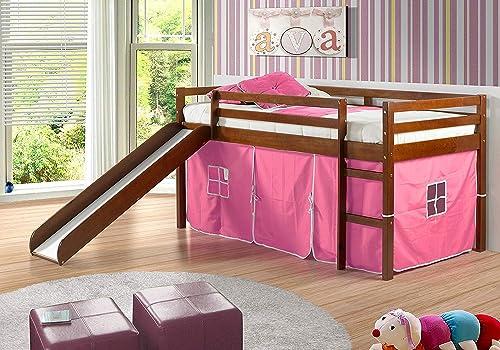 Donco Kids Mission Low Slide Loft Bed Light Espresso/Twin/Pink Tent