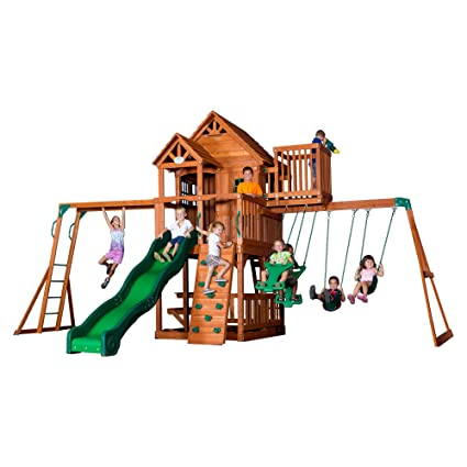 Backyard Discovery Skyfort II All Cedar Wood Swing Set - Amazon.com: Backyard Discovery Skyfort II All Cedar Wood Swing Set