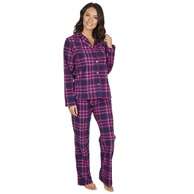 d144364400 Ladies Thermal Pyjamas Soft Touch Flannel Traditional Button Up Style  Tartan  Amazon.co.uk  Clothing