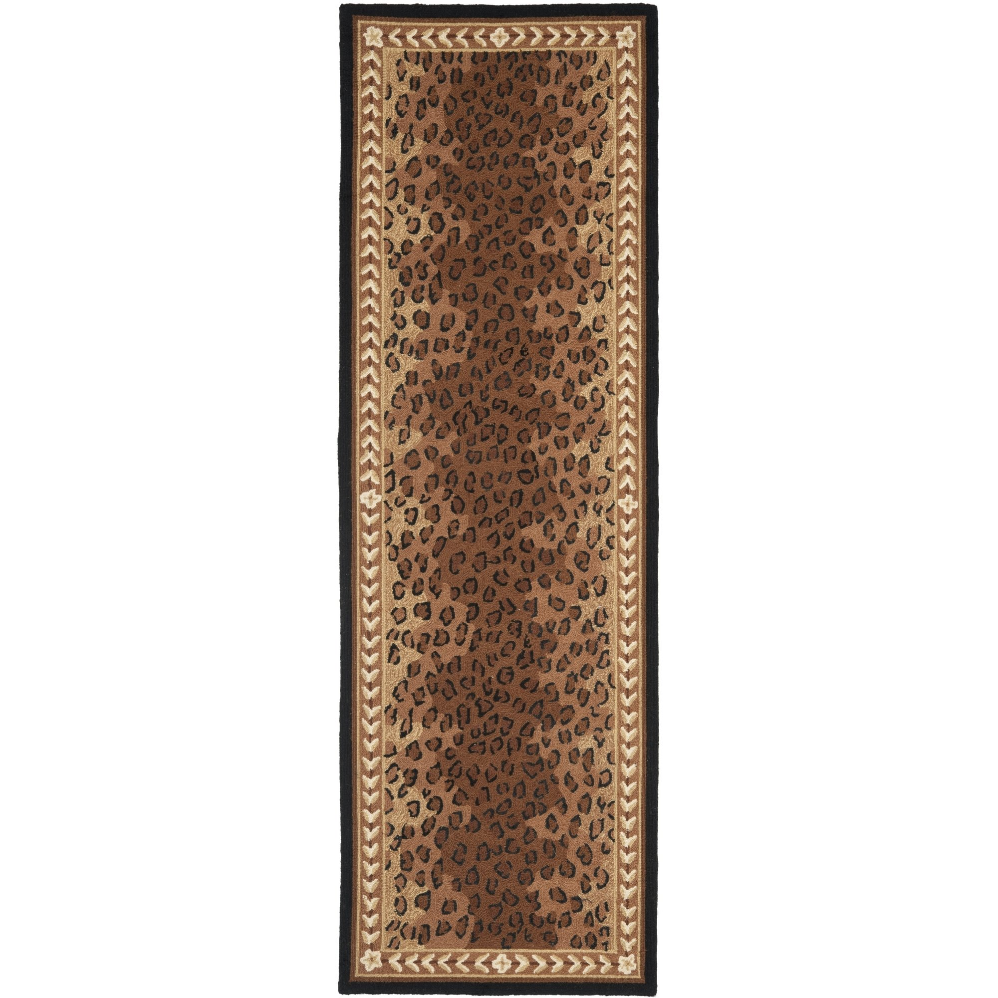 Safavieh Chelsea Collection HK15A Hand-Hooked Black and Brown Premium Wool Runner (2'6'' x 8')