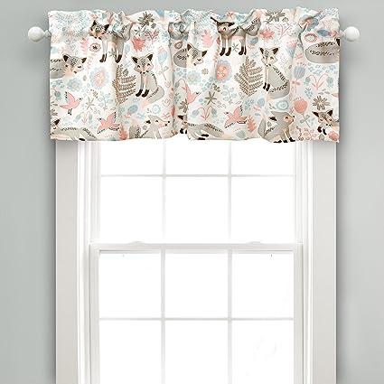 Lush Decor Pixie Fox Room Darkening Window Valance, 18 x 52 + 2 Header, Gray Curtain Valence, Pink