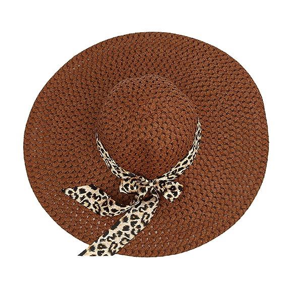 Cikuso Cafe Sombrero de sol hueco decorado lazo de cinta del leopardo  exquisito de verano para mujer  Amazon.es  Ropa y accesorios 18b6c6082540