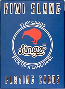 Lingo Kiwi Slang Playing Cards Playing Cards | Language Learning Game Set | Fun Visual Flashcard Deck to Increase Vocabulary and Pronunciation Skills - 54 Useful Phrases