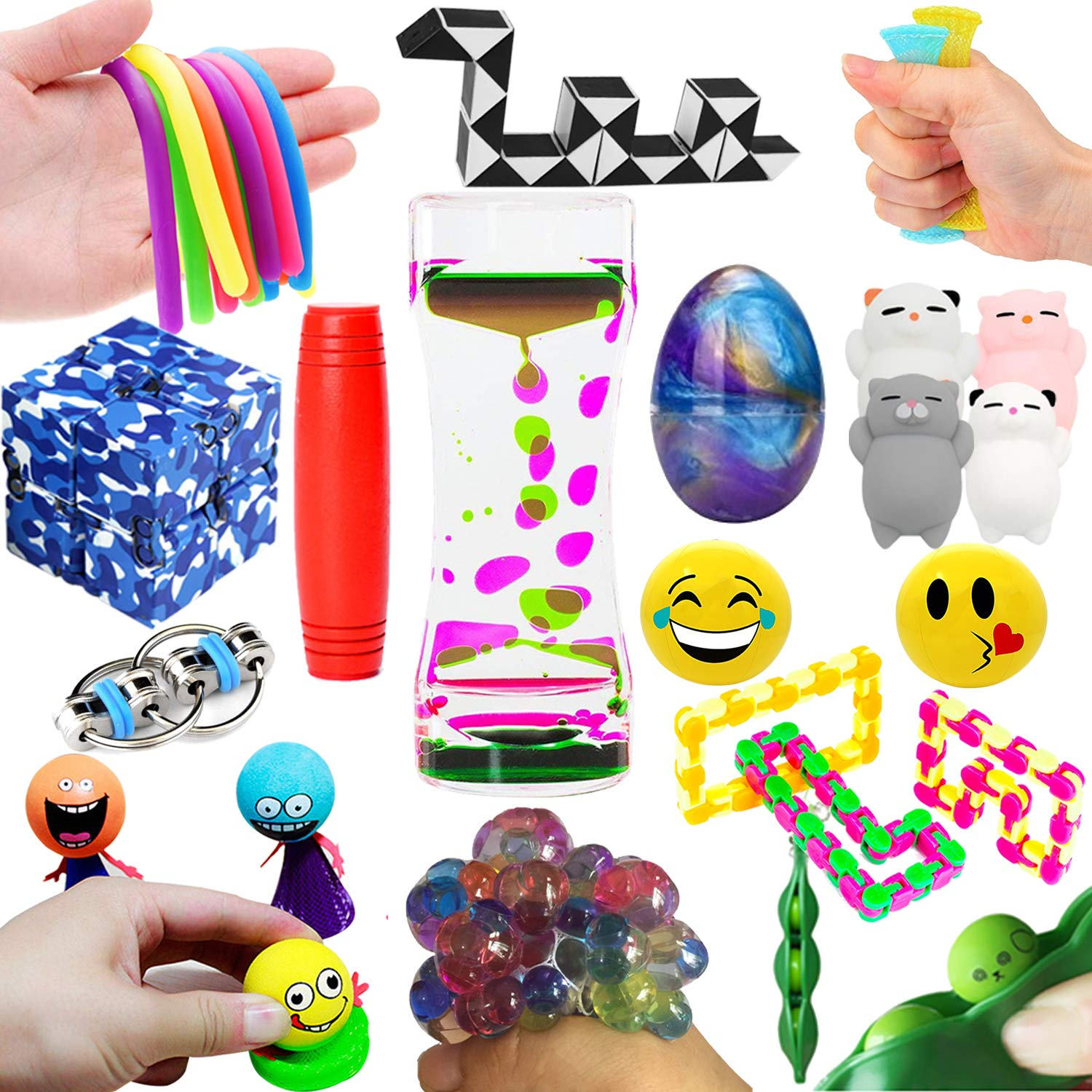 The Ultimate 14 Varieties 21 Packs Sensory Fidget Toys Kit Prime Mochi Squishies Toys/Infinity Cube/Emoji Stress/Squeeze Bean/Fidget Stick/Twisted Toy/Fidget Cube for Kids&Adult Add ADHD Stress Relax by Leeche