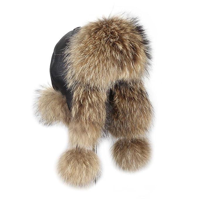 Procione Berretto cappello di pelliccia volpe Pelle Cappello aviatore Sci  Invernale Berretto Cappello Fox Colbacco urss e995c29862a2