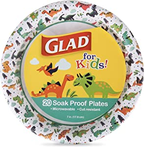 Glad for Kids 7-Inch Paper Plates | Small Round Paper Plates with Cute Dinosaur Design for Kids | Heavy Duty Disposable Soak Proof Microwavable Paper Plates for All Occasions, 20 Count