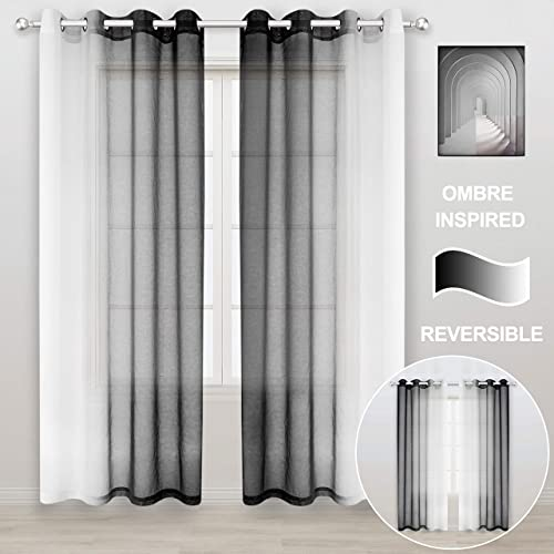 WONTEX Faux Linen 2 Tone Ombre Sheer Curtains for Living Room Bedroom, 52 x 95 Inch Long, Black and White Light Filtering and Privacy Gradient Curtain, Grommet Semi Sheer Voile, Set of 2 Panels
