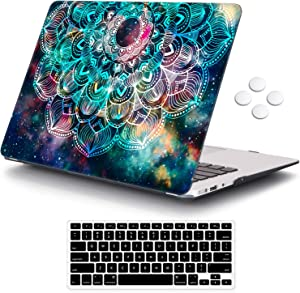 MacBook Air 13 inch Case (Release 2010-2017 Older Version), iCasso Hard Shell Plastic Protective Case & Keyboard Cover Only Compatible with MacBook Air 13 Inch Model A1369/A1466 - Nebula Mandala