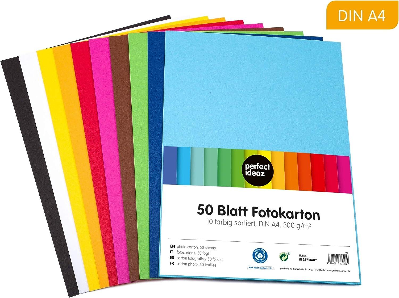 perfect ideaz cartulina cuché A4 de colores 50 hojas, cartulina ...