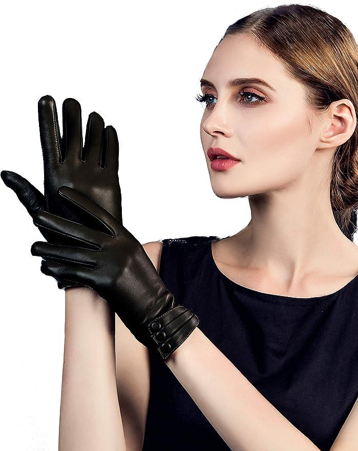 YISEVEN Damen Lederhandschuhe Gef/üttert Touchscreen Wollfutter