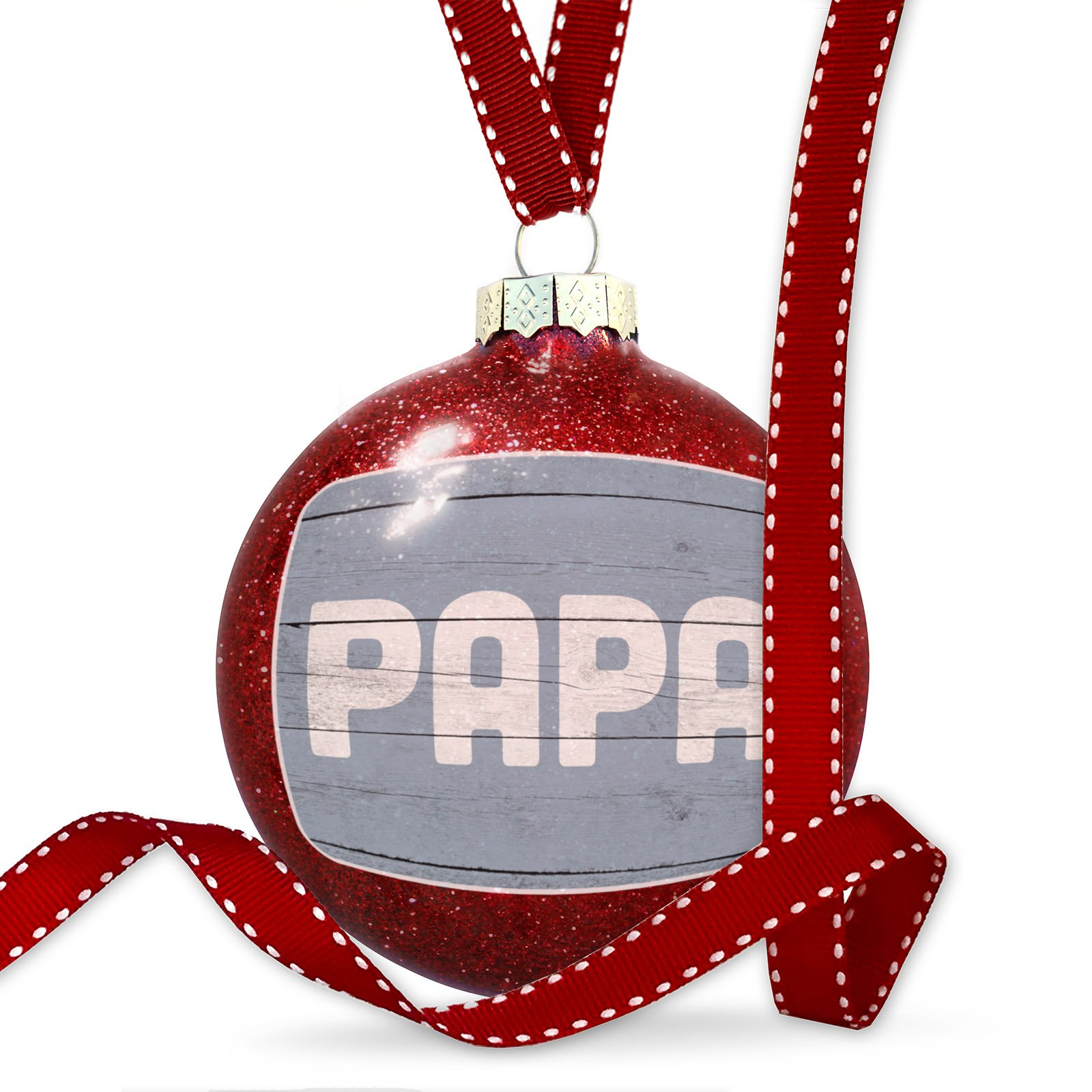 Christmas Decoration Papa Father's Day Blue Vintage Wood Planks Ornament
