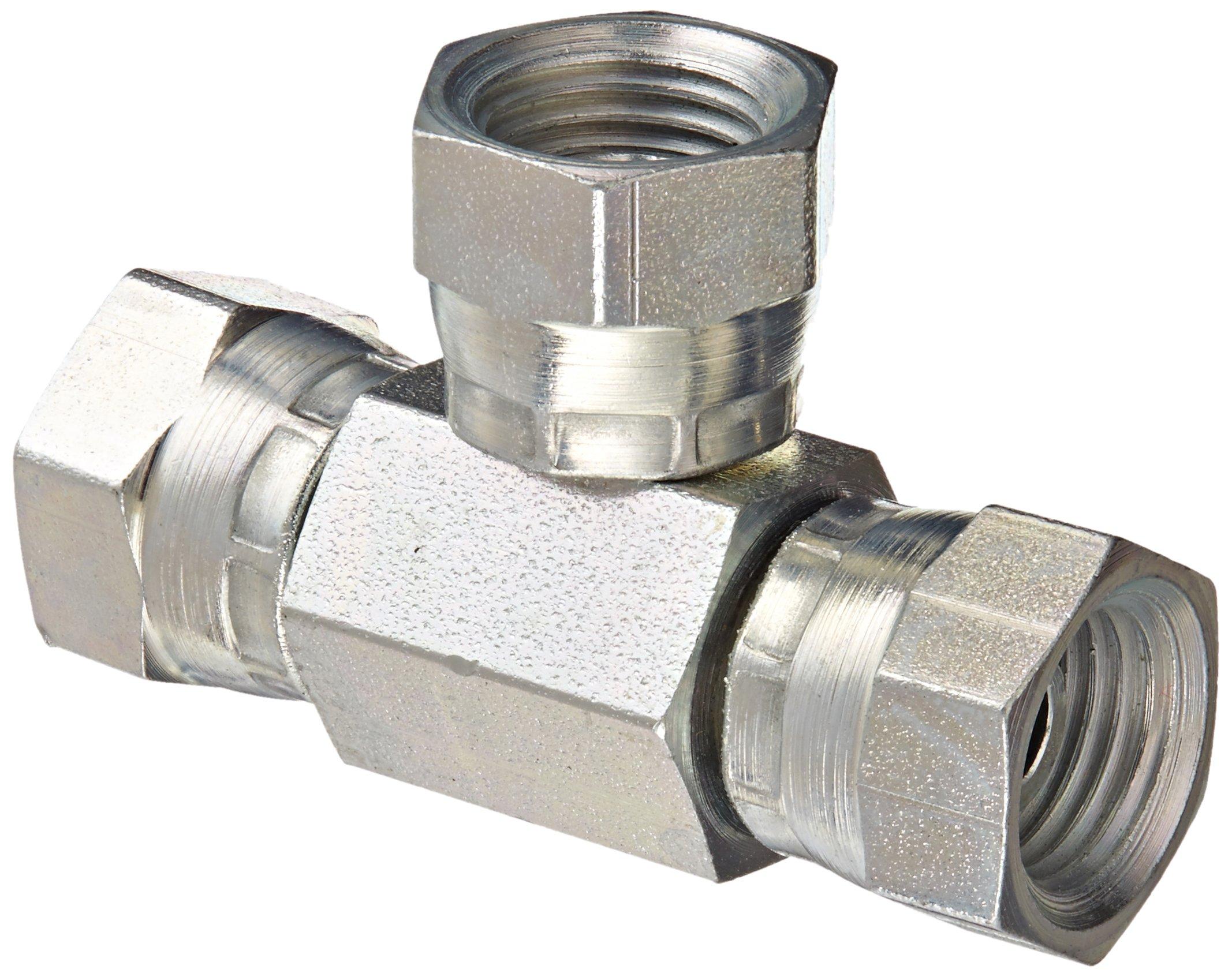 Eaton Weatherhead 9705X4X4X4 Carbon Steel Fitting, Swivel, Tee, 1/4''NPSM Female