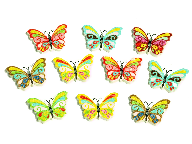 "5 Holzknöpfe Natur "" Schmetterling"""