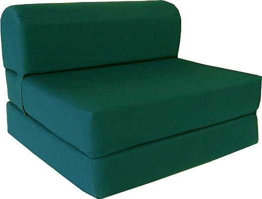 Hunter Green Full Size 4-Foldable Foam Matress Studio Folding Sofa Chair Bed