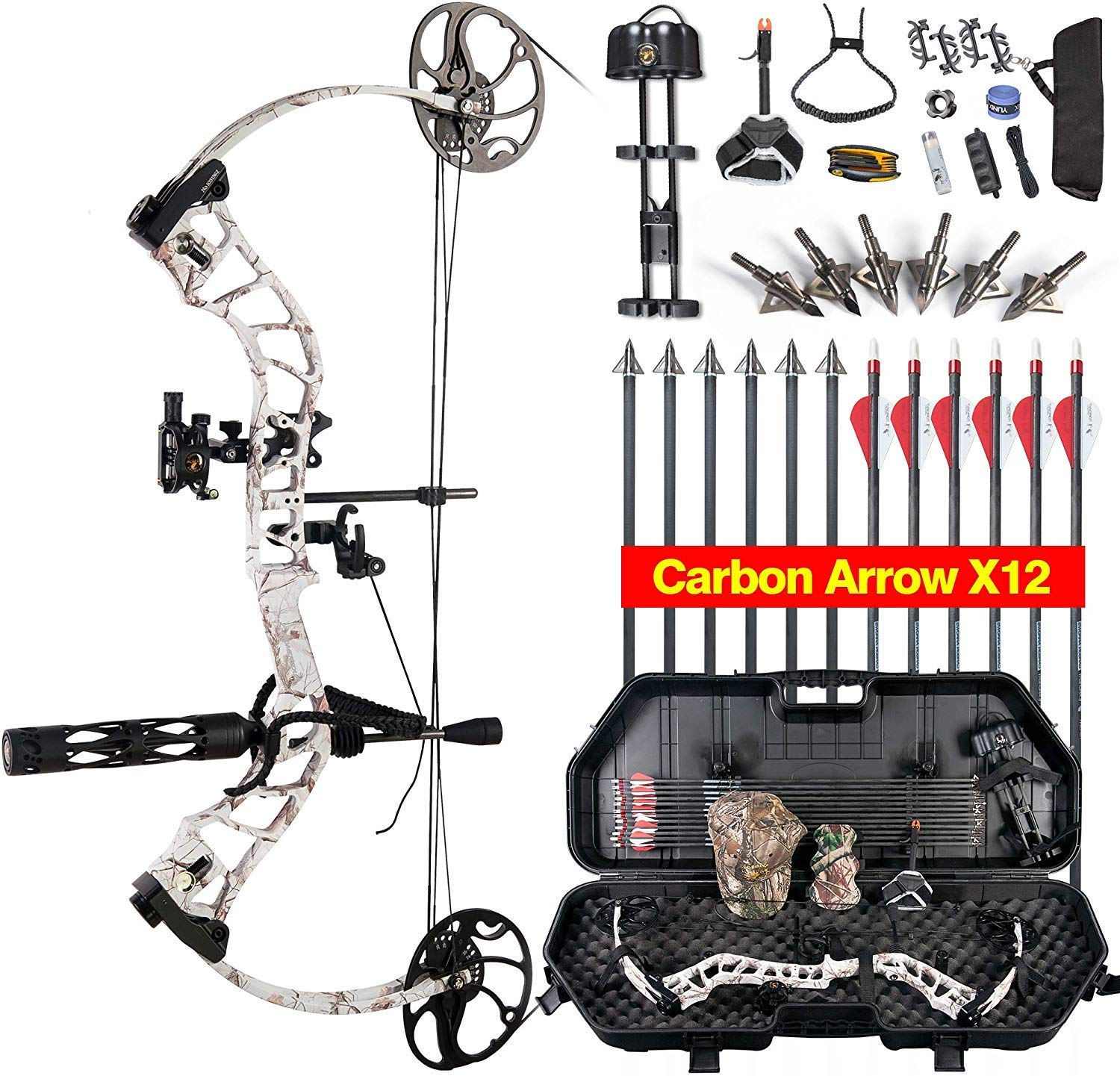 XGeek MOMENTOUS Compound Bow Hard Bow Case Package,CNC Milling Bow Riser,USA Gordon Composites Limb,BCY String,19 -30 Draw Length,19-70Lbs Draw Weight,IBO 320fps