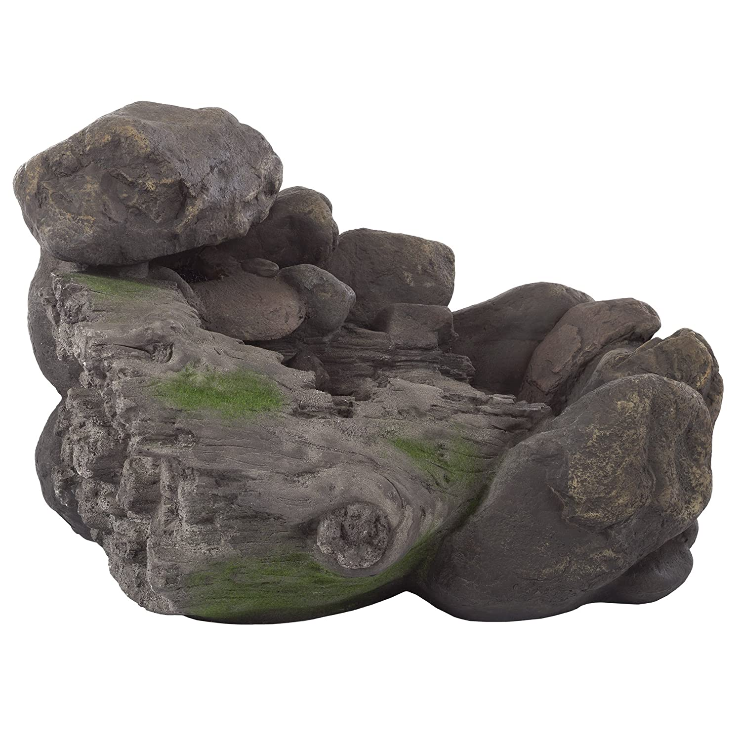 Outdoor Water Fountain Lawn and Garden By Pure Garden 2 Tier Lion Head Fountain With Natural Looking Stone and Soothing Sound for Decor on Patio