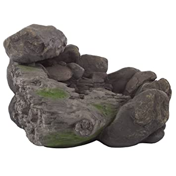 Outdoor Water Fountain With Stone Waterfall, Natural Looking Rock And  Soothing Sound For Decor On
