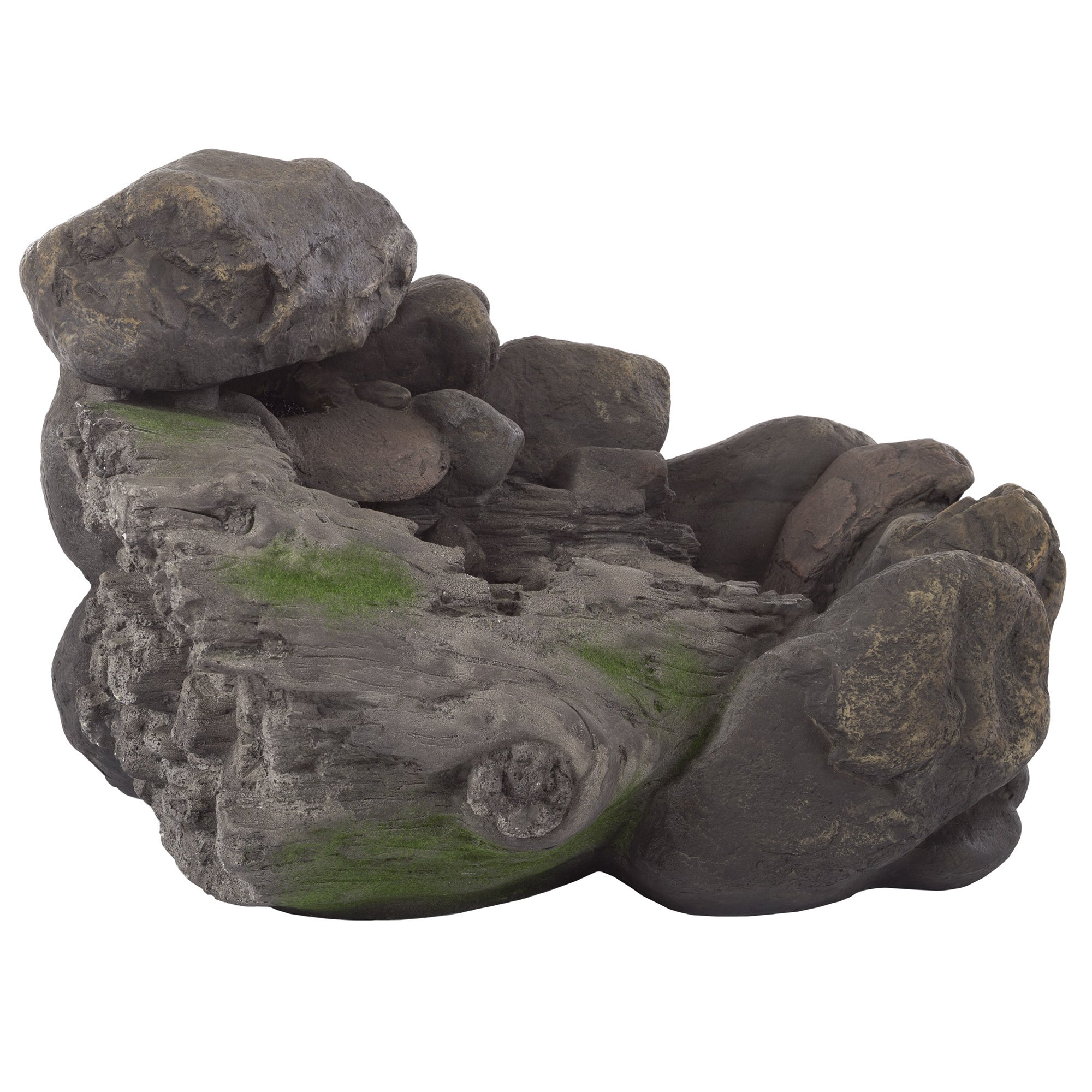 Outdoor Water Fountain With Stone Waterfall, Natural Looking Rock and Soothing Sound for Decor on Patio, Lawn and Garden By Pure Garden by Pure Garden