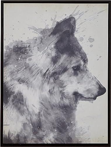 Amazon Brand Rivet Splattered Grey Wolf Canvas Wall Art