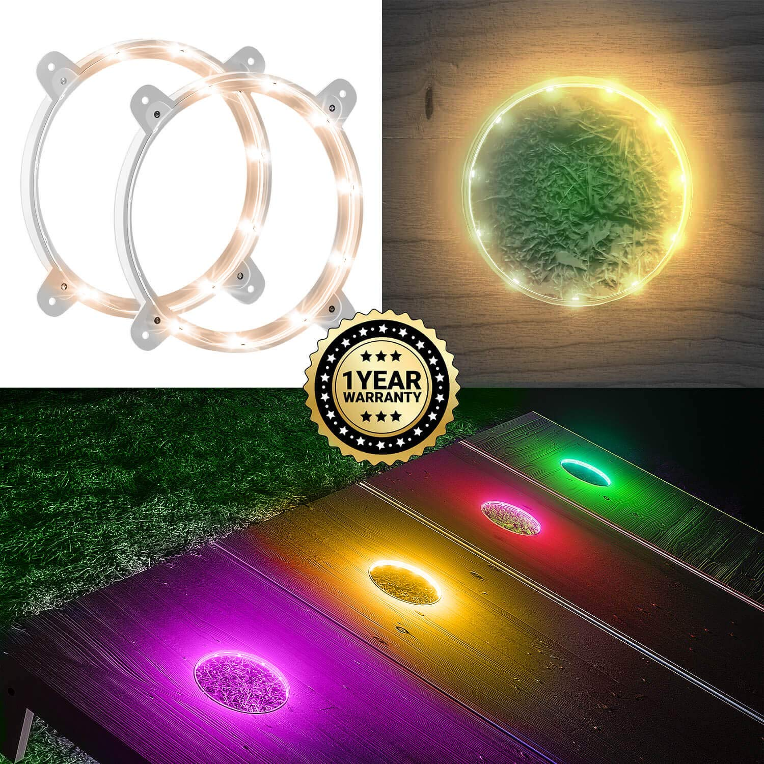 IMMOBIUS Cornhole LED Board Lights so You Can Play at Night! (Set of 2) -Choose from 4 Colors- 1 Year Replacement Warranty, Sturdy Build, Lasts 100+ Hours on 2 AA Batteries! (Gold)