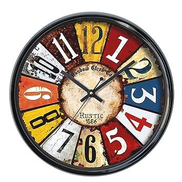 Random Colors Round Plastic Wall Clock (30 cm x 30 cm x 5 cm, Black) Wall Clocks at amazon
