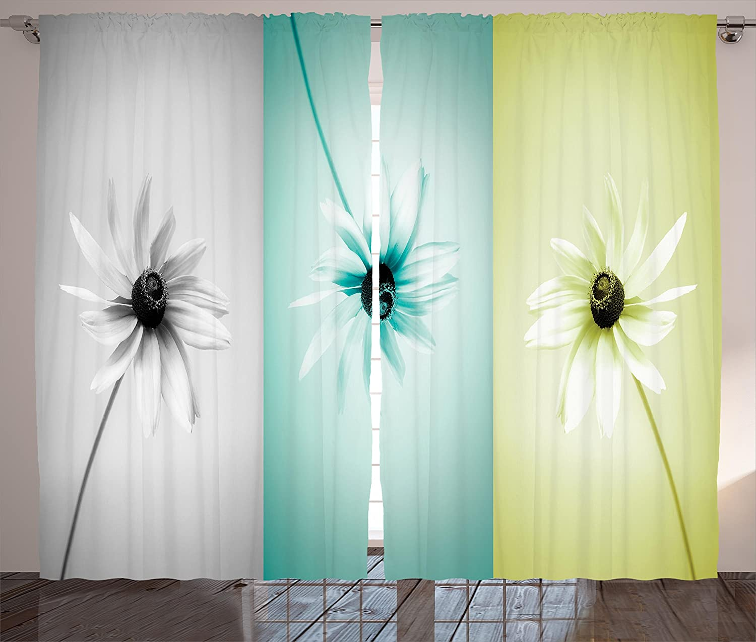 """Ambesonne Abstract Curtains, Daisy Flowers in Different Featured Framed Saturated Image, Living Room Bedroom Window Drapes 2 Panel Set, 108"""" X 90"""", Turquoise Grey"""