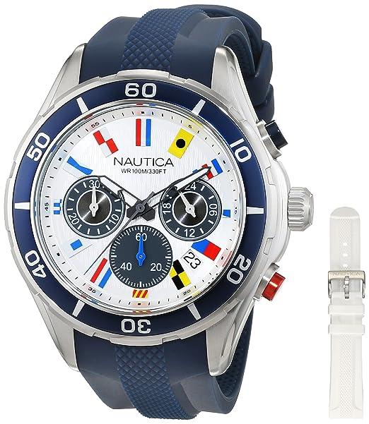Nautica Reloj Analógico para Hombre de Cuarzo con Correa en Silicona 0656086081343: Amazon.es: Relojes